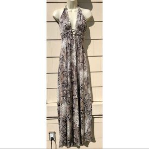 Sky Brand Snake Print Halter Maxi Long Dress